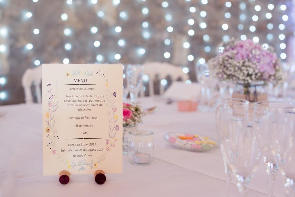 table mariage menu